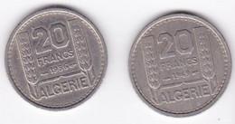 Algerie. 20 Francs Turin 1949 Et 1956, Cupronickel , KM# 91 - Algérie