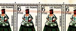 BLOQUE DE 16 SELLOS DEL Nº **1845 TRAJE LAS PALMAS. ERROR DOS LINEAS ROJO TENUE EN 8 SELLOS DE ARRIBA. VER FOTO. RARO - Variedades & Curiosidades