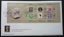 Great Britain 50th Anniv Machin Definitive 2017 QEII Queen Royal Machine United Kingdom (FDC) - Covers & Documents