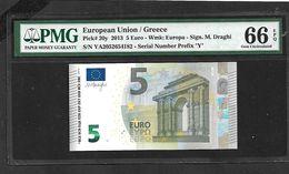 "GREECE: ""Y"" 5 EURO Draghi Signature PCGS 66PPQ  GEM UNC!! (Exceptional Paper Quality-EPQ)! Printer Y002I1 - EURO"