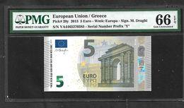 "GREECE: ""Y"" 5 EURO Draghi Signature PCGS 66PPQ  GEM UNC!! (Exceptional Paper Quality-EPQ)! Printer Y005H1 - EURO"