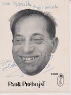 Paul PREBOIST  Carte Dédicacée - Künstler