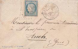 Yvert 60A Lettre VILLENAVE D' Ornon Gironde 5/7/1871 GC 4562 Bureau Supplémentaire Pour Auch Gers - Marcophilie (Lettres)