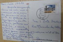 PORTUGAL 42 NUMERIC CANCEL ON POSTCARD - 1910-... République