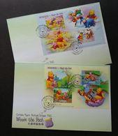 Taiwan Cartoon Winnie The Pooh 2006 Animation Bear Tiger Flower Donkey Snow Flower (FDC Pair) - Covers & Documents