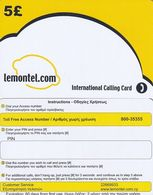 CYPRUS - Lemontel Prepaid Card 5 Pounds(large, 800-35355, Matt Surface), Fourth Issue, Tirage 5000, Sample - Cyprus