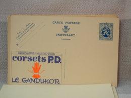 BELGIQUE ENTIER POSTAL 50c BLEU LION HERALDIQUE - PUB CORSET P.D. LE GANDUKOR - NEUF - Entiers Postaux