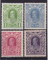 #12167 Norway, Norge 1910/1918, Full Set MNH, Michel 89 - 92: King Haakon VII. - Norwegen