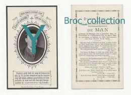 Brugge, Varssenaere, Doodsprentje Léon-Marie-Joseph-Augustin-Louis-Stanislas-Ghislain De Man, 24/04/1892, 20 Ans Mémento - Images Religieuses