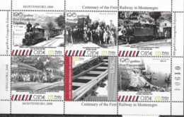 MONTENEGRO, 2008, MNH,TRAINS, CENTENARY OF RAILWAYS IN MONTENEGRO, SHEETLET - Trains