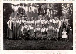 Insolite Photo Originale Fête Pro-Nazi Dans Les Années 1930 Croix Gammées, Soldats SS & Femmes En Costumes Folkloriques - Guerre, Militaire
