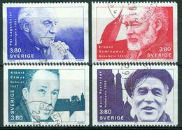 Bm Sweden 1990 MiNr 1639-1642 Used | Nobel Prize Winners For Literature, Lagerkvist, Hemingway, Camus, Pasternak - Usados