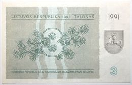 Lituanie - 3 Talonas - 1991 - PICK 33b - SPL - Litauen