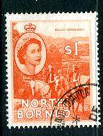 North Borneo 1954-59 QEII Pictorials - $1 Bajau Horsemen Used (SG 383) - North Borneo (...-1963)