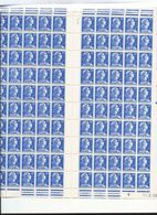 Feuille Complète De 100 Timbres Du N°1011B Marianne De Müller 20f Bleu. - Full Sheets