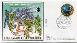 FRANCE BLOC CNEP N°26 COUPE DU MONDE 1998 SUR ENVELOPPE 1er JOUR AVEC OBL. ILL. BIENNALE PHILATELIQUE 13 MARS 1998 PARIS - 1998 – Frankrijk
