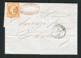 Belle Lettre En Double Port De Limoux Pour Chalabre ( 1855 ) Avec Un N° 16b Orange Sur Paille - 1849-1876: Klassik