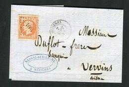 Belle Lettre En Double Port De Mézières Pour Vervins ( 1857 ) Avec Un N° 16 - 1849-1876: Klassieke Periode