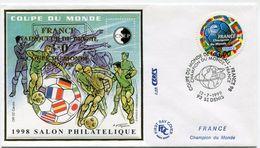 FRANCE BLOC CNEP N°27 COUPE DU MONDE 1998 SURCHARGE VAINQUEUR 3-0  SUR ENVELOPPE 1er JOUR AVEC OBL.ILL. ST DENIS 12-7-98 - 1998 – Frankrijk