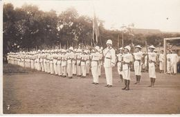 Cpa Parade Militaire Indochine  France Vietnam Photo Tirailleurs Tonkinois - Uniformes