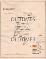 PORTUGAL - ATLAS PECUARIO - MAPA DO DISTRITO DO AVEIRO - 1880 - Maps