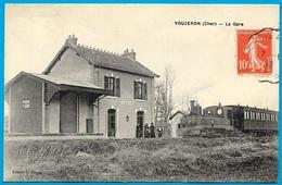 CPA 18 VOUZERON Cher - LA GARE (avec Train) ° Edition V. Turpin - Vouzeron