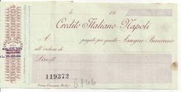 CHECK CHEQUE ITALY, CREDITO ITALIANO, NAPOLI, 1910'S RARE - Chèques & Chèques De Voyage