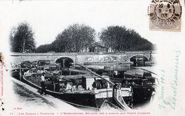 TOULOUSE: Les Canaux à TOULOUSE-LeEmbouchure,reunion Des 3 Canaux Aux Ponts Jumeaux.Belle Péniche,(gros Plan),en 1903 - Toulouse