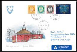 Norway Illustrated Cover Ski Nye Kirke Christmas 2000 Posted Ski 2000 (NB**LAR9-119) - Norwegen
