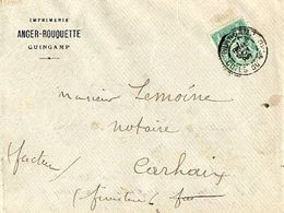 C3  1899 Lettre ENTETE IMPRIMERIE DE GUINGAMP Pour Carhaix  Dept 29 22 56 - Marcophilie (Lettres)