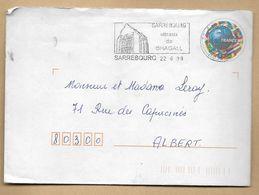 """Flamme De (57) """"Sarrebourg Vitraux De Chagall"""" (judaïca) 22-06-1998 Entier Postal Coupe Du Monde France 98 Football - Marcophilie (Lettres)"""