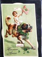 CPA  Illustration Chien Dog Saint Bernard  Carte Calendrier à Système - A Systèmes