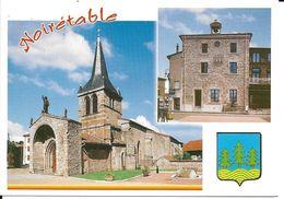 42. CPM. Loire. Noirêtable. L'église. La Mairie (2 Vues + Blason) - Noiretable