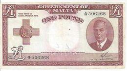 Malta P22 1 Pound 1949 (1951) * King George VI * F VF - Malte