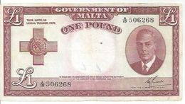 Malta P22 1 Pound 1949 (1951) * King George VI * F VF - Malta