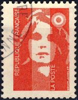 2806  Marianne Sans Valeur ROUGE OBLITERE  ANNEE 1993 Cachet Rond Bandes Phosphore - 1989-96 Bicentenial Marianne