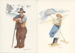 CPM - ILLUSTRATION Guy AMEYE - Paysans Savoyards - Lot De 2 Cartes - Edition B.Grange - Illustrators & Photographers