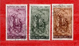 VATICANO ° -  1966 - NATALE -  Unif. 445 à 447.  Usato. - Oblitérés