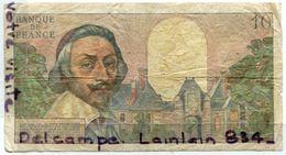 -bANQUE DE FRANC Billet De 10 NF, Dix Nouveuu Francs Richelieu, G7 -12 1961, Usagé, Pas De Scotch, Pli De Coins,  Scans. - 1959-1966 Francos Nuevos