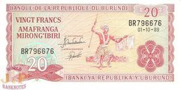 BURUNDI 20 FRANCS 1989 PICK 27b UNC - Burundi