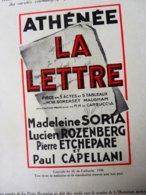 LA LETTRE ,de W. Somerset Maugham   (origigine :LA PETITE ILLUSTRATION   1930) ;Pub Parfumerie NEIGE DES CEVENNES - Theatre