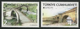 "TURQUIA/ TURKEY/ TÜRKEI/ TURQUIE- EUROPA 2018 -""PUENTES.-BRIDGES -BRÜCKEN -PONTS""-  SERIE  De  2 V. - 2018"