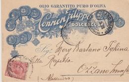 """A/5 - CARTOLINA - PUBBLICITA' - OLIO GARANTITO PURO D'OLIVA """"CONRIERI FILIPPO"""" - DOLCEACQUA (IMPERIA) - 1900-44 Vittorio Emanuele III"""