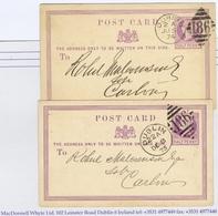 Ireland Dublin 1873 Tall And 1874 Medium DUBLIN 186 Duplex Cancels On Halfpenny Lilac Postcards To Carlow - Irlande