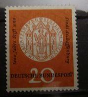 🔎 Bund FRG, 1957, Mi. 255 I Aschaffenburg M. Plattenfehler Una, ** MNH, Value 40,- - Variétés