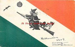 262267-Halloween, Annin & Company 1905, Witch & Black Cat Riding Broom - Halloween