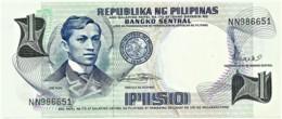 PHILIPPINES - 1 Piso - ND ( 1969 ) - Pick 142.b - Unc. - Sign. 8 - Serie NN - Seal Type II - Jose Rizal - Filipinas - Filipinas