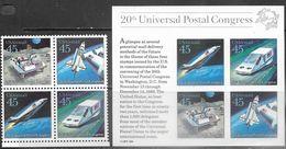 US   1988   45c Airmail Future Space Block And Souv Sheet  MNH   Face $3.60 - Stati Uniti