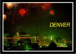 Colorado Denver Skyline At Night With Fireworks - Denver
