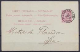 EP CP 10c (N°46) De L'Hotel Des Familles Càd BLANKENBERGHE /28 AOUT 1890 Pour Hotel De Flandre à SPA (au Dos: Càd Arrivé - Ganzsachen